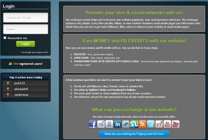 Give you a SOCIAL EXCHANGE SITE