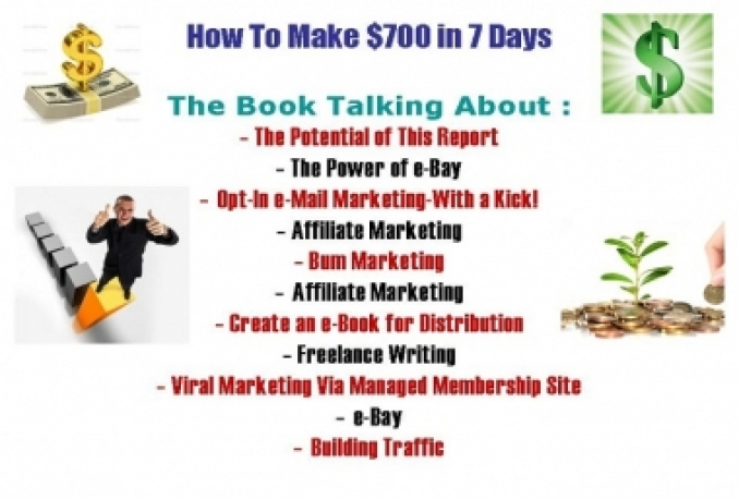 "Selling book talking about "" How To Make $700 in 7 Days"