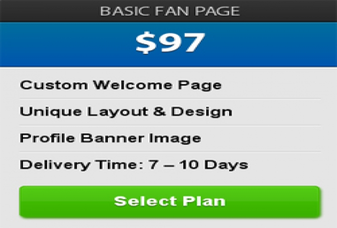 create facebook fan page design only