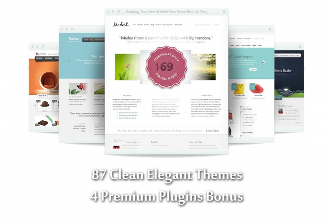 83 CLEAN Elegant themes, bonus 4 amazing plugins
