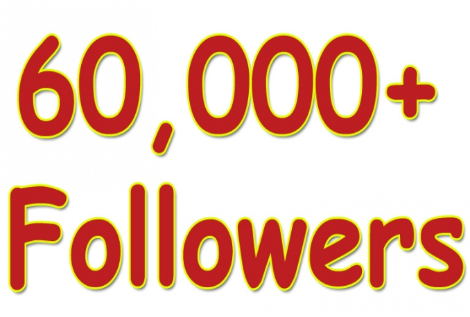 Gives you 60,000+Guaranteed Twitter Real Followers.