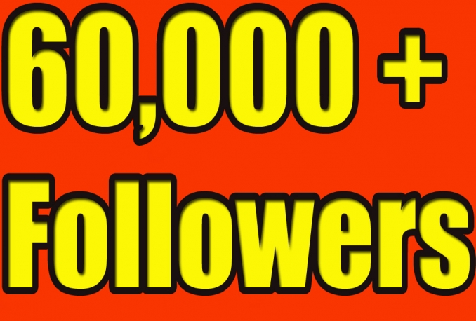 Gives you 60,000 Twitter Real Followers No Egg Real Pics..