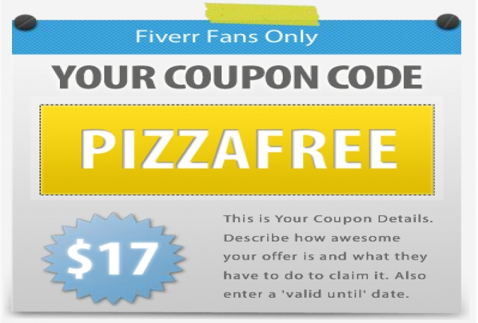 create 5 coupon graphics to display on your Facebook fanpage timeline