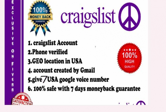 give 7 New Craigslist Pva and 7 Google Voice Number Best Quality