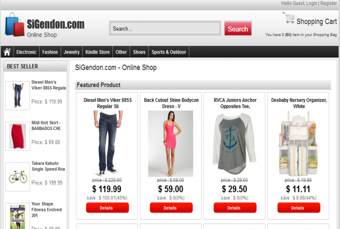 install theme and auto generate content for your WP become online shop