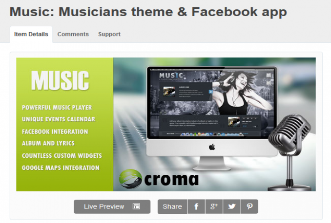 give you a Music Premium Wordpress Theme (45$)