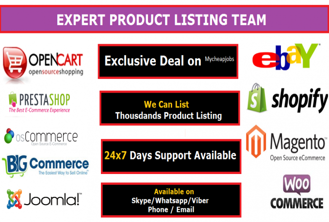 add 20 Product Listing on eCommerce site