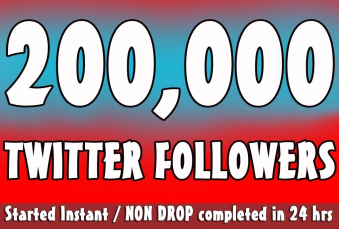 Twitter 200,000+Stable/NON Drop/Fast Followers.