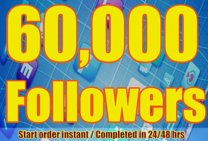 Twitter 60,000+Stable/NON Drop/Fast Followers.