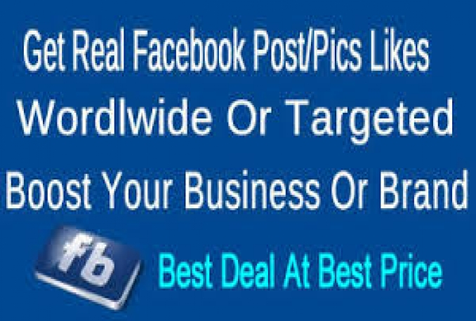 Provide You 100,000+ Real/Human/Unique/Active Fb Photo,Post Likes 100% Safely.
