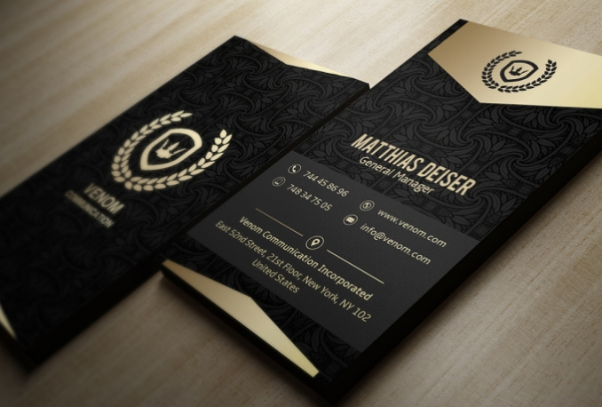 design Elegant Black and Gold Business Cards