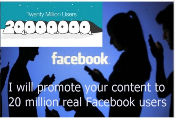 promote your content to 20 million real Facebook users