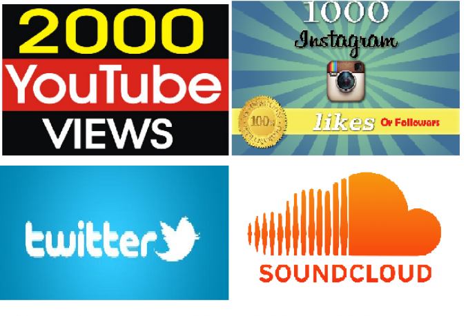 give you 2500 youtube views OR 1500 Twitter Fav or Retweets OR 1000 Twitter Followers OR 1000 Instagram Followers or Likes OR  15,000 soundcloud plays OR 5000 downloads OR 200 followers, Likes,Comment