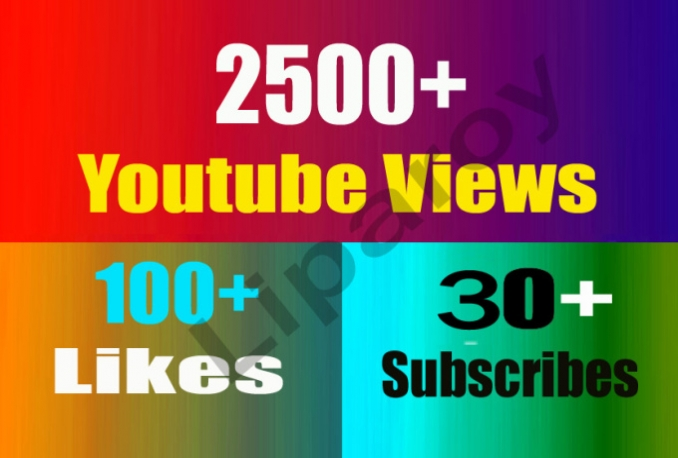 2500Youtube Views + 100 Likes and 30 Subscribers
