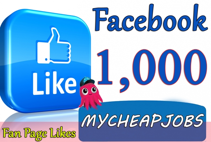 1000 Facbook fan page like world wide only for price