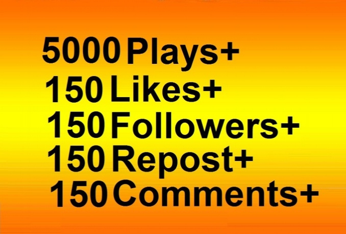add 5000 real soundcloud plays with 150 likes 150 repost 150 followers 150 comments