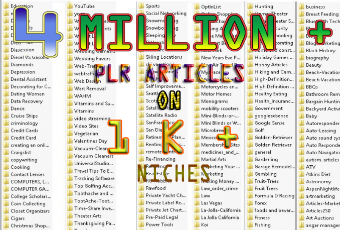 give You 4 Million PLR Articles and more than 100000 Niches
