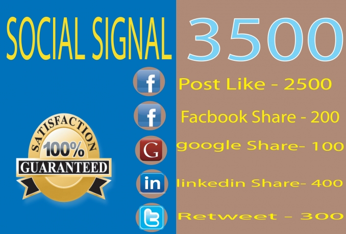 Top Quality  3500 Social Signals