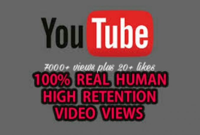 Deliver 7000+ safe/Non drop High quality YouTube views plus 20+ likes