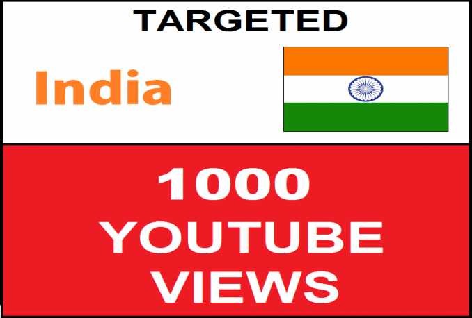 provide 1500+ High Retention Desktop INDIA Youtube Views and Targeted Views