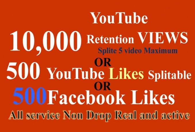 10,000 Retention YouTube Views or 500 Likes or 500 Facebook likes