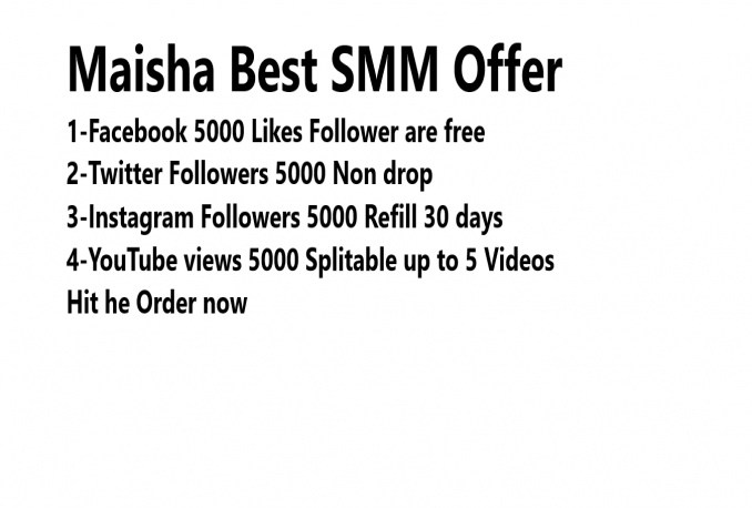 deliver 5000 FB Page Likes + 5000 Twitter Followers + 5000 Instagram Followers + 5000 YouTube Views