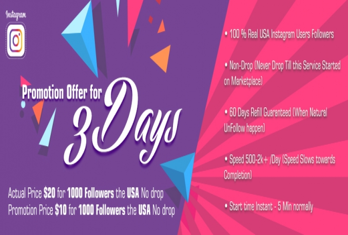 deliver USA Instagarm Non Drop Followers Promotion