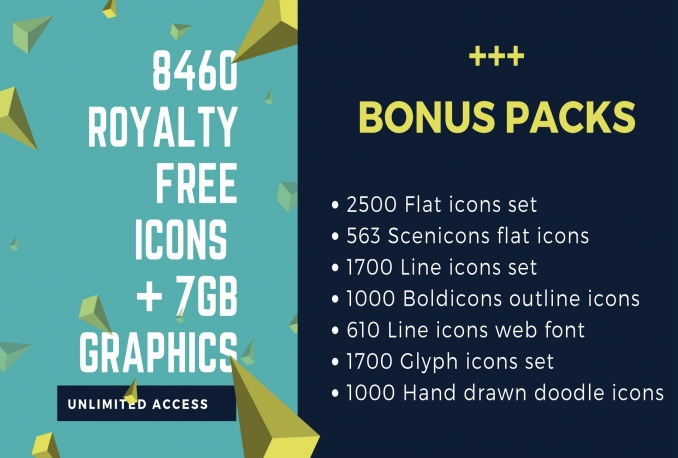 Provide 8460 Icons Pack And 7gb Graphics Collection