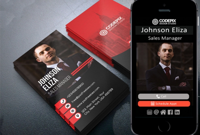 design a business card and a free digital version for mobile
