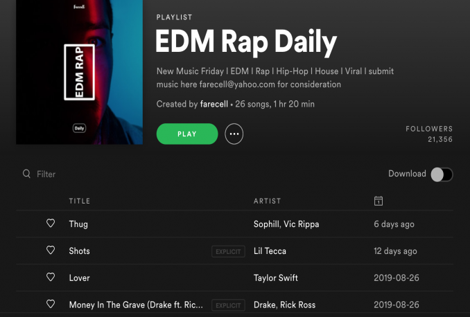 put your spotify song on edm rap daily playlist