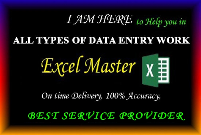 do excel sheet data entry for you